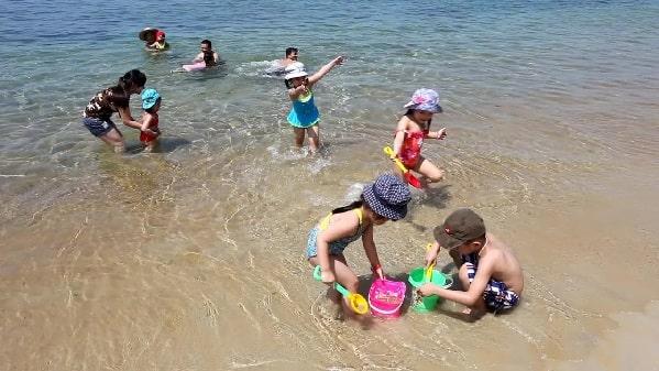  phụ huynh cùng con khám phá bãi biển