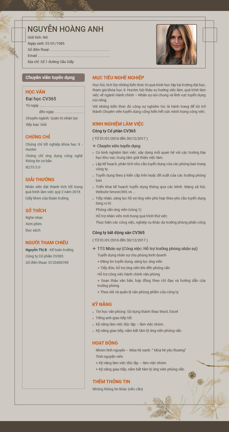 hướng dẫn viết thông tin trong mẫu cv xin việc đẹp file word