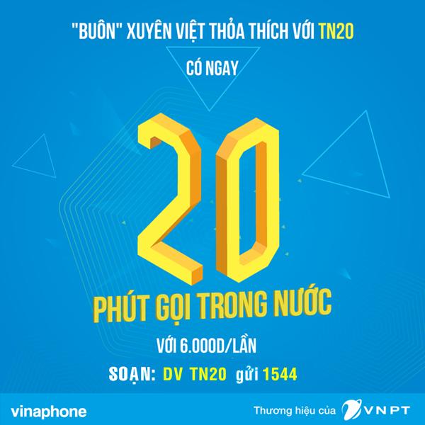 Sử dụng gói dịch vụ TN20 của Vinaphone thoải mái gọi thoại.