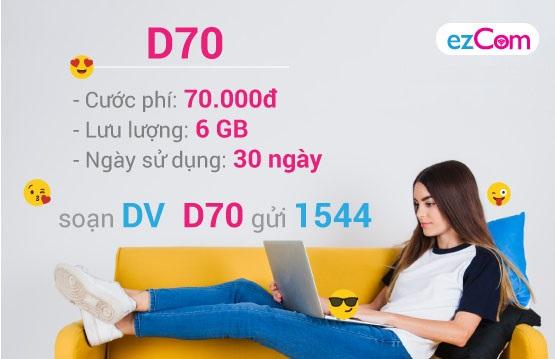 Dành ngay lợi ích rất khủng lúc trải nghiệm gói dịch vụ D70 nhà mạng Vina