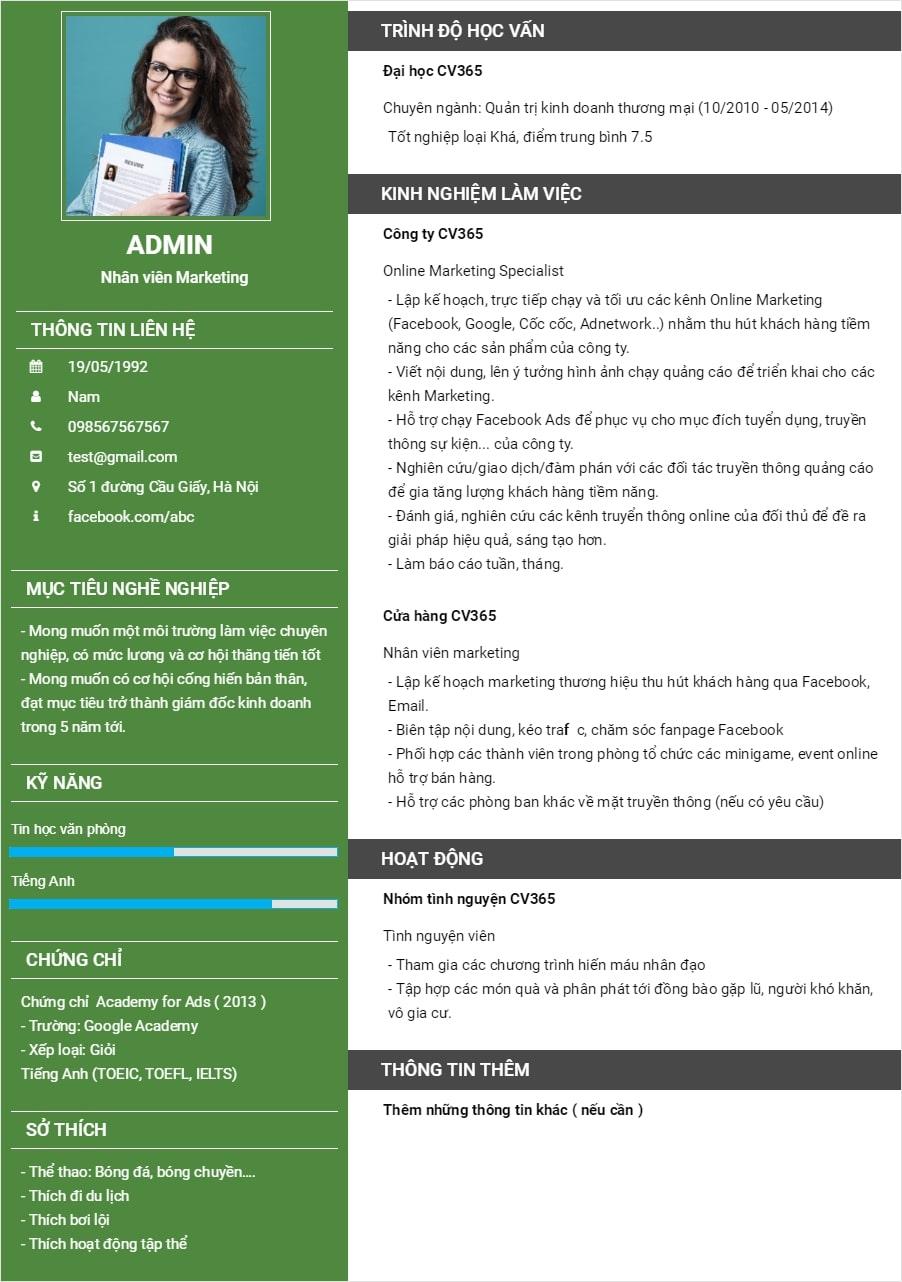 Hướng dẫn cách chèn ảnh vào mẫu CV xin việc bằng Excel